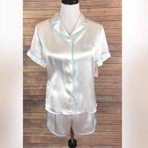 NWT- Blue and white satin Bride Pajama set